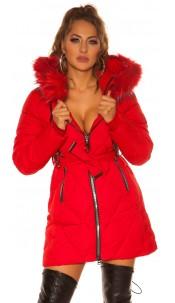 Sexy winter jacket w. Zips, belt + fake fur Hood Red