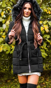 Trendy winter jacket w. belt + detachable hood Black