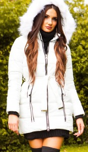 Trendy winter jacket w. belt + detachable hood White