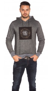 Trendy men s hoodie with patch Black
