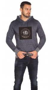 Trendy men s hoodie with patch Navy