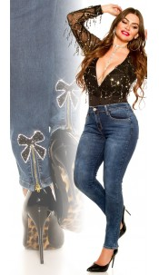 Curvy Girls Size! Skinny Jeans With Bow Jeansblue