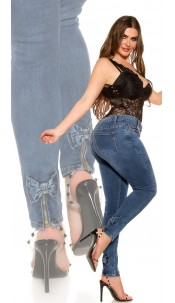 CurvyGirlsSize! Sexy high waist jeans with bow Jeansblue