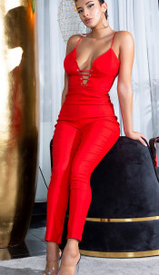 """Sexy Skinny """"Kylie Look"""" Jumpsuit with Lacing Red"""