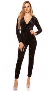 Sexy jumpsuit velvet look with glitter thread&belt Black