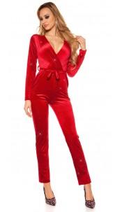 Sexy jumpsuit velvet look with glitter thread&belt Bordeaux