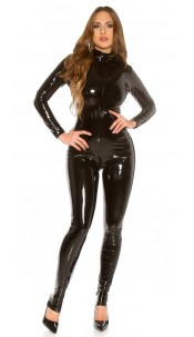 Sexy KouCla Latex-Look Catsuit Black