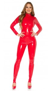 Sexy KouCla Latex-Look Catsuit Red