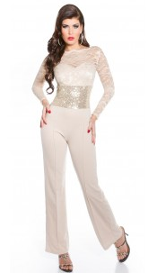 Sexy KouCla party overall sleeved lace+sequined Beige