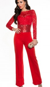 Sexy KouCla party overall sleeved lace+sequined Red