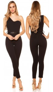 Sexy KouCla One Shoulder jumpsuit with belt Black