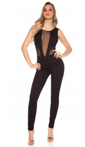 Sexy Koucla jumpsuit with sexy net-applications Black