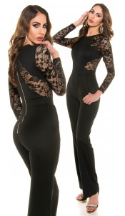 Sexy Koucla long sleeve overall with lace Black