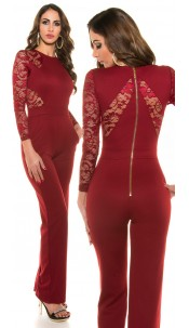 Sexy Koucla long sleeve overall with lace Bordeaux