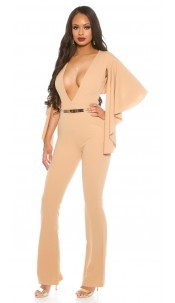 Sexy KouCla Party Jumpsuit with XL V-Cut Beige