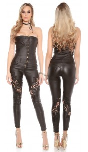 Sexy Koucla leatherlook bandeau jumpsuit with lace Black