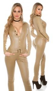 Sexy Koucla leatherlook longsleeve jumpsuit Beige