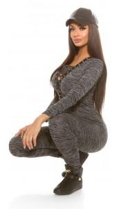 Trendy Koucla Fineknit jumpsuit with lacing Black
