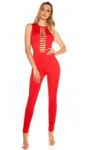 Sexy KouCla Jumpsuit With Sexy Decollete Red