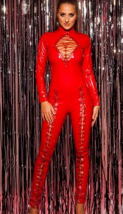 Sexy KouCla Turtleneck LatexLookJumpsuit w. lacing Red
