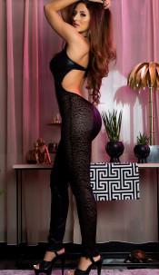 Sexy lederlook overall met kant zwart