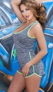 Trendy KouCla Workout Playsuit Green