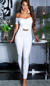Sexy jumpsuit with gold buckle & Carmen neckline White