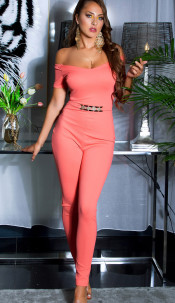 Sexy jumpsuit with gold buckle & Carmen neckline Coral