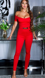 Sexy jumpsuit with gold buckle & Carmen neckline Red