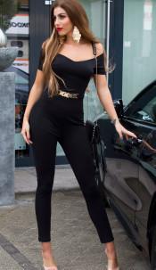 Sexy jumpsuit with gold buckle & Carmen neckline Black