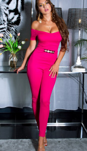 Sexy jumpsuit with gold buckle & Carmen neckline Pink