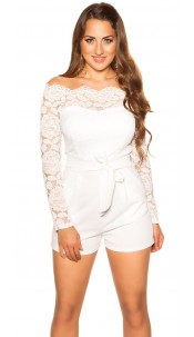 Sexy longsleeve jumpsuit with lace White