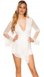 Sexy playsuit with bell sleeves and lace White