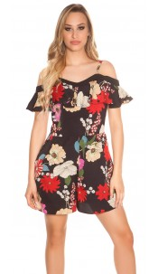 Sexy carrier playsuit with flower print & flounce Black