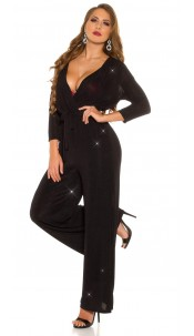 Sexy Longsleeve Jumpsuit Wrap Look WOW! Decolletee Black