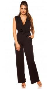 Sexy wraplook jumpsuit with belt Black