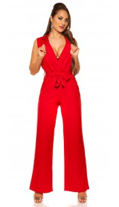 Sexy wraplook jumpsuit with belt Red