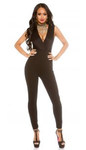 Sexy party-jumpsuit with glitter and v-neck Black