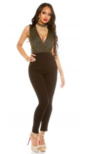 Sexy party-jumpsuit with glitter and v-neck Gold