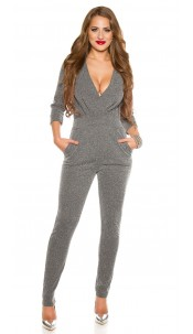 Casual party jumpsuit with side pockets Grey