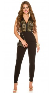Sexy party jumpsuit with rhinestones & sequins Black