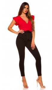 Sexy KouCla V-Cut jumpsuit with flounce Red