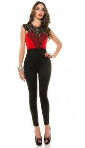 Sexy Koucla-Overall with lace Red