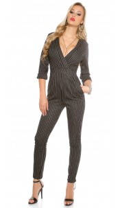 Pinstripe business jumpsuit Black