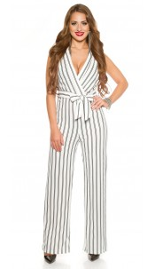 Sexy party jumpsuit with fabric belt White