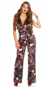 Sexy KouCla jumpsuit velvet look with floral print Black