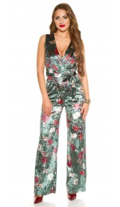Sexy KouCla jumpsuit velvet look with floral print Green