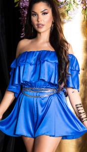 Sexy off-shoulder satijn- look ruffled overall blauw
