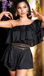 Sexy off-shoulder satijn- look ruffled overall zwart