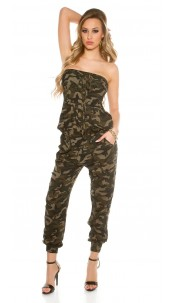 Sexy Bandeau Camouflage jumpsuit Army